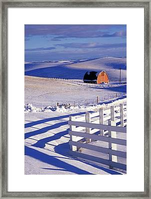 Fenced Barn Framed Print by Latah Trail Foundation