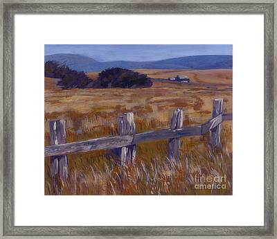 Fenced Field - Point Arenas Ca Framed Print by Betsee  Talavera