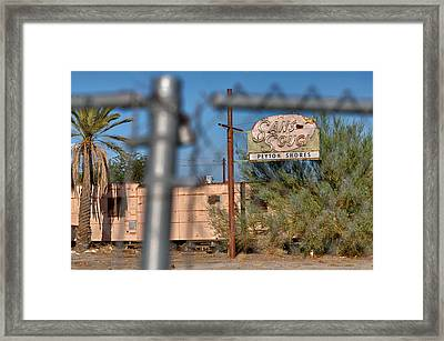Fenced In  Abandoned 1950's Motel Trailer Framed Print by Scott Campbell