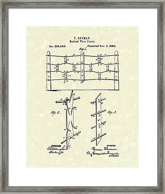 Fencing 1880 Patent Art Framed Print by Prior Art Design