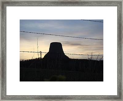 Framed Print featuring the photograph Fencing Devil's Tower by Cathy Anderson