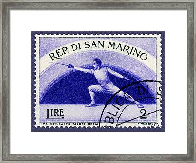 Fencing On San Marino Stamp Framed Print