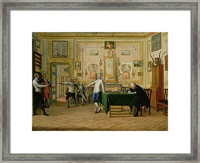 Fencing Scene At The Neopolitan Residence Of Kenneth Mackenzie 1744-81 1st Earl Of Seaforth, 1771 Framed Print by Pietro Fabris