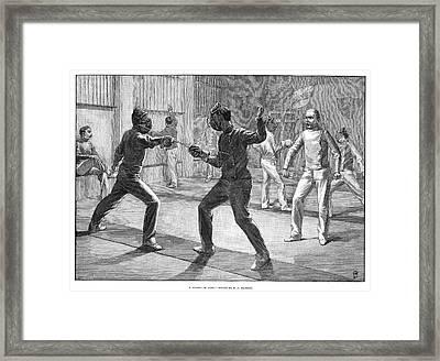 Fencing School, 1890 Framed Print