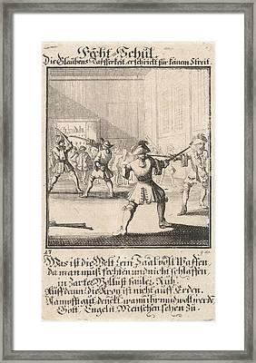 Fencing School, Caspar Luyken, Anonymous Framed Print by Caspar Luyken And Anonymous
