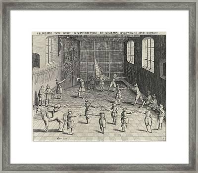 Fencing School Of The University Of Leiden Framed Print by Willem Isaacsz. Van Swanenburg And Jan Cornelisz. Van 't Woudt And Claes Jansz. Visscher Ii