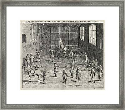Fencing School Of The University Of Leiden Framed Print by William Isaacsz. Van Swanenburg And Andries Clouck