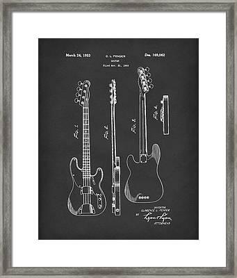 Fender Bass Guitar 1953 Patent Art Black Framed Print