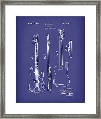 Fender Bass Guitar 1953 Patent Art Blue Framed Print