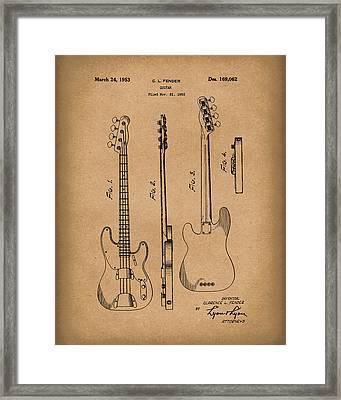 Fender Bass Guitar 1953 Patent Art Brown Framed Print