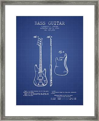 Fender Bass Guitar Patent From 1960 - Blueprint Framed Print by Aged Pixel