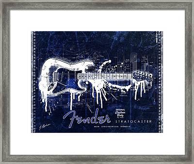 Fender Blueprint Washout Framed Print by Gary Bodnar