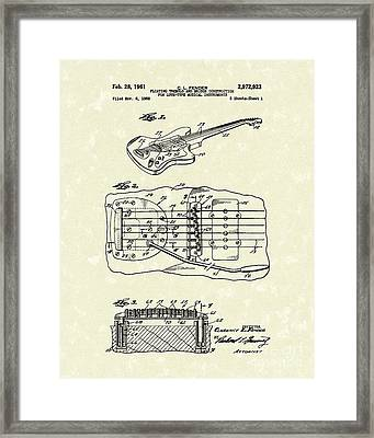 Fender Floating Tremolo 1961 Patent Art Framed Print by Prior Art Design