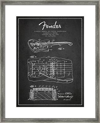 Fender Floating Tremolo Patent Drawing From 1961 - Dark Framed Print