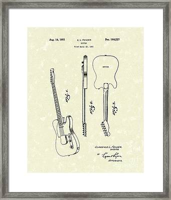 Fender Guitar 1951 Patent Art Framed Print