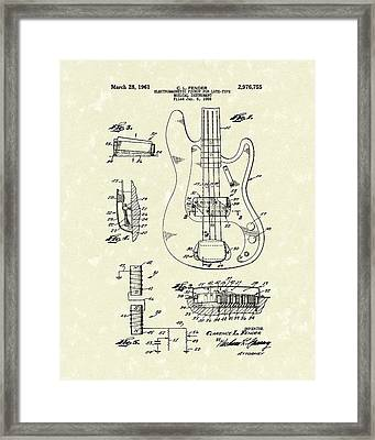 Fender Guitar 1961 Patent Art Framed Print