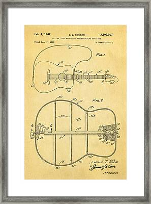 Fender Guitar Manufacture Patent Art 1967  Framed Print by Ian Monk