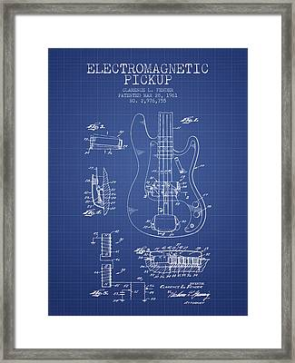 Fender Guitar Patent From 1961 - Blueprint Framed Print by Aged Pixel