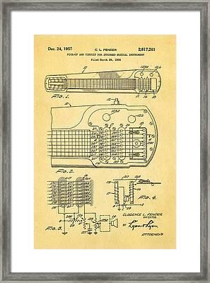 Fender Pick-up Patent Art 1957  Framed Print