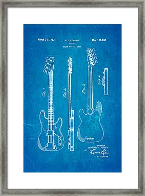 Fender Precision Bass Guitar Patent Art 1953 Blueprint Framed Print