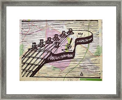 Fender Strat On Map Framed Print by William Cauthern