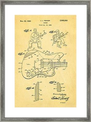 Fender Jazzmaster Guitar Patent Art 1960  Framed Print by Ian Monk