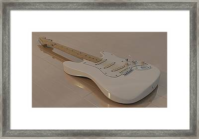 Fender Stratocaster In White Framed Print by James Barnes