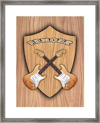 Fender Stratocaster Natural Color Shield Framed Print