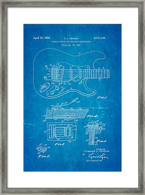 Fender Stratocaster Tremolo Arm Patent Art 1956 Blueprint Framed Print by Ian Monk