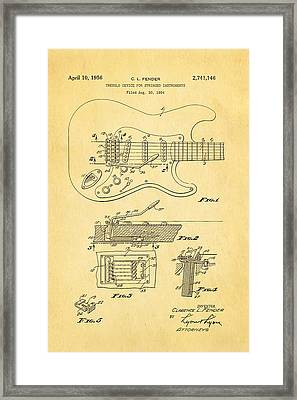 Fender Stratocaster Tremolo Arm Patent Art 1956 Framed Print by Ian Monk