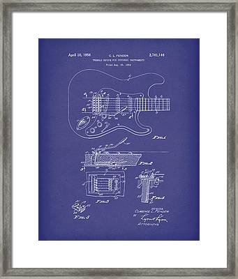 Fender Tremolo Device 1956 Patent Art Blue Framed Print by Prior Art Design