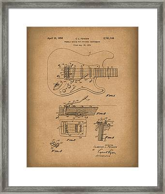 Fender Tremolo Device 1956 Patent Art Brown Framed Print by Prior Art Design