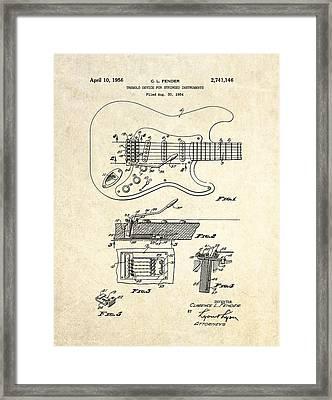 1956 Fender Tremolo Patent Drawing I Framed Print