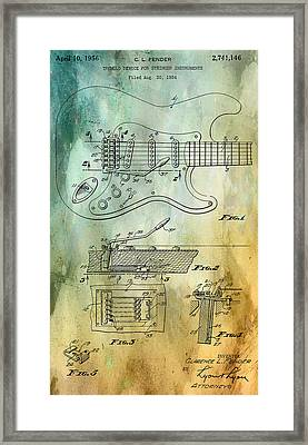 Fender Tremolo Patent Framed Print by Georgia Fowler