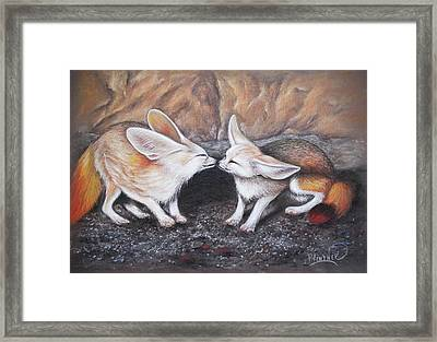 Framed Print featuring the drawing Fennec Love by Patricia Lintner