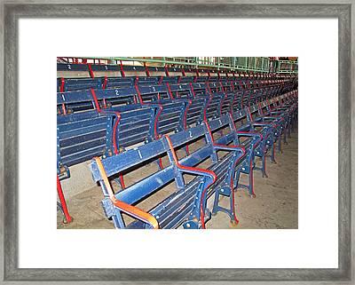 Fenway Blues Seats Framed Print by Barbara McDevitt