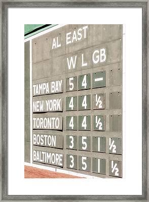 Fenway Park Al East Scoreboard Standings Framed Print by Susan Candelario