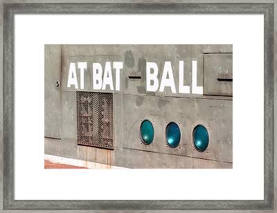 Fenway Park At Bat - Ball Scoreboard Framed Print by Susan Candelario