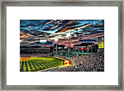 Fenway Park At Sunset Framed Print by Florian Rodarte