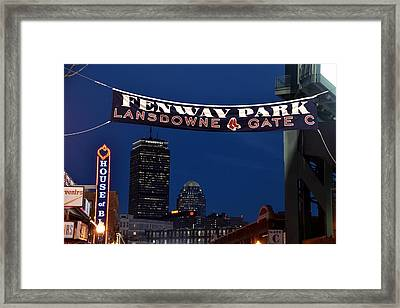 Fenway Park Banner Framed Print by Toby McGuire