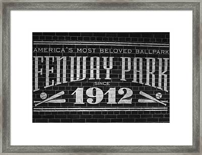 Fenway Park Boston Ma 1912 Sign Framed Print by Toby McGuire