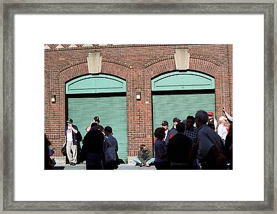 Fenway Park - Fans And Locked Gate Framed Print by Frank Romeo