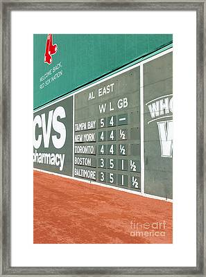 Fenway Park Green Monster Scoreboard I Framed Print by Clarence Holmes