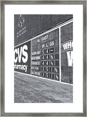 Fenway Park Green Monster Scoreboard II Framed Print by Clarence Holmes