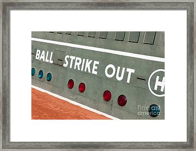 Fenway Park Green Monster Scoreboard IIi Framed Print by Clarence Holmes