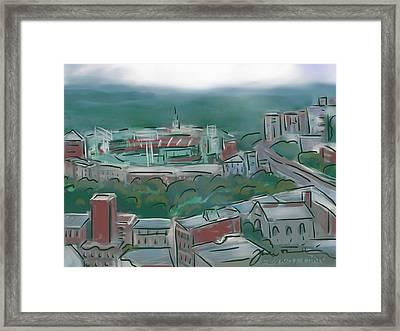 Fenway Park In The Mist Framed Print