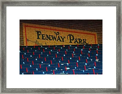 Fenway Park Sign And Seats Framed Print by Toby McGuire