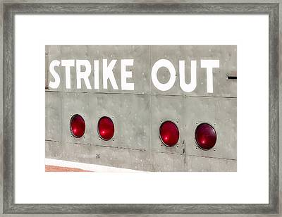 Fenway Park Strike - Out Scoreboard  Framed Print by Susan Candelario