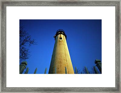 Framed Print featuring the photograph Fenwick Island Lightouse And Blue Sky by Bill Swartwout