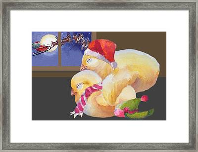Baby Chicks Night Before Christmas Framed Print